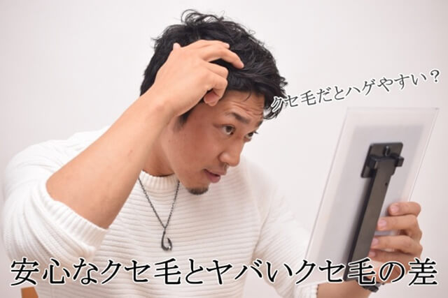 鏡を見ながら頭皮チェックをしている若い男性
